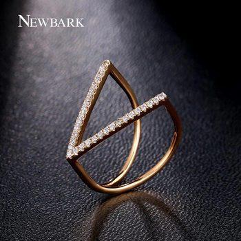 NEWBARK Accessoires De Mode Bijoux Anneau Unique V Forme Géométrique Anneaux Pavée Micro Cubique Zircone Parti Punk Anillos
