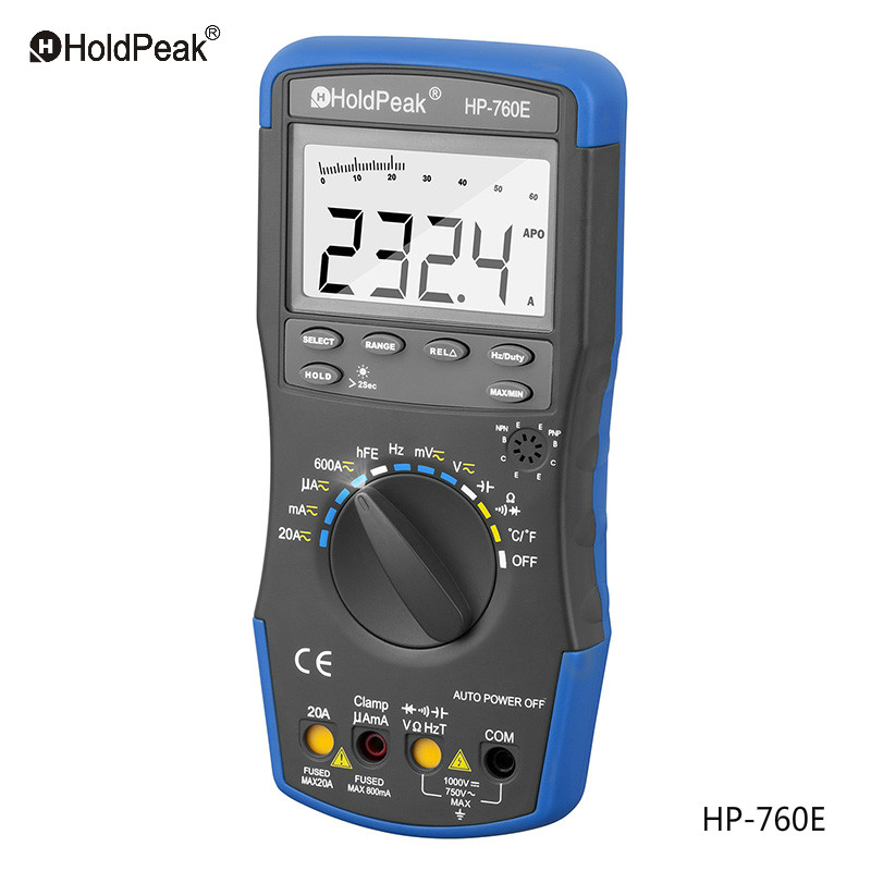 HoldPeak HP-760E Auto Ranging Digital Multimeter Meter with Min Max Value/Duty Cycle/Frequency/Temperature Test and Carry Bag<br>