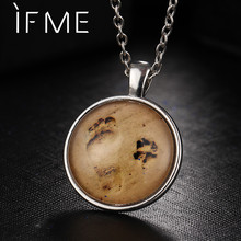 IF ME Silver Color Foot Print Pendants Long Necklaces Gold Color Dog Dog Paws Print Necklace For Women Jewelry Collier Femme(China)
