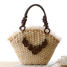2017 Women Spring Summer Shoulder Bag Luxury Brand handmade Woven Straw Handbags Summer Fashion Big Beach Bag Women Zipper