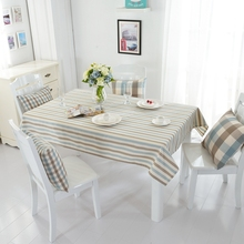 Blue White and Grey Stripes Tablecloth Brief Polyester Fabric Waterproof Table Covers Appropriate for Dining Room