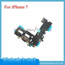 1pcs USB Charging Charger Port Dock Connector Flex Cable For iPhone 7 4.7Inch Audio Microphone Flex  Repair Parts free shipping