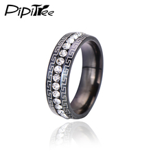 Vintage Style One Row Crystal Ring Men Titanium Stainless Steel Black Wedding Rings Male Love Print Jewelry Best Gift Hot Sale