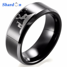 SHARDON 8mm Black Beveled Two-Toned Tungsten Carbide comfort fit white lasered Deer Hunting design Outdoor Ring for Men(China)