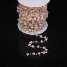 5Meter,4x6mm White Opal Rosary Chain,Champagne Titanium Opal Faceted Rondelle beads Gold plate Wire Wrapped Chain(China)