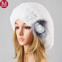 Nueva moda señora buena boina elástica tejida Rex conejo piel gorros  mujeres invierno Rex conejo piel sombreros 100% Real conejo. ed8f6e44ee7