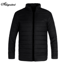 Adisputent Mannen Winter Jas Fluwelen Jas Down Warm Houden Zipper Pocket Plus Size Bovenkleding Effen Dikke Parka(China)