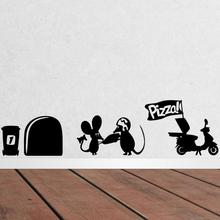 3d Funny mouse hole Pizza wall stickers for kids rooms decals vinyl wall art decoration home vintage wallpaper mural