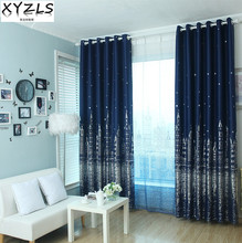 XYZLS Outlet 3D Castle and Star Blinds Blackout Curtains Tulle Curtain for Living Room Bedroom Shade Sheer Decorative Drapes(China)