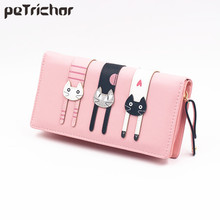 New Fashion Envelope Women Wallet Cat Cartoon Wallet Long Creative Female Card Holder PU Wallet Coin Purses Girls(China)