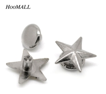 "Hoomall 100 Sets Silver Tone Star Spike Rivet Studs Spots For Clothing 11mmx11mm(3/8""x3/8"") 7mm(2/8"")(China)"