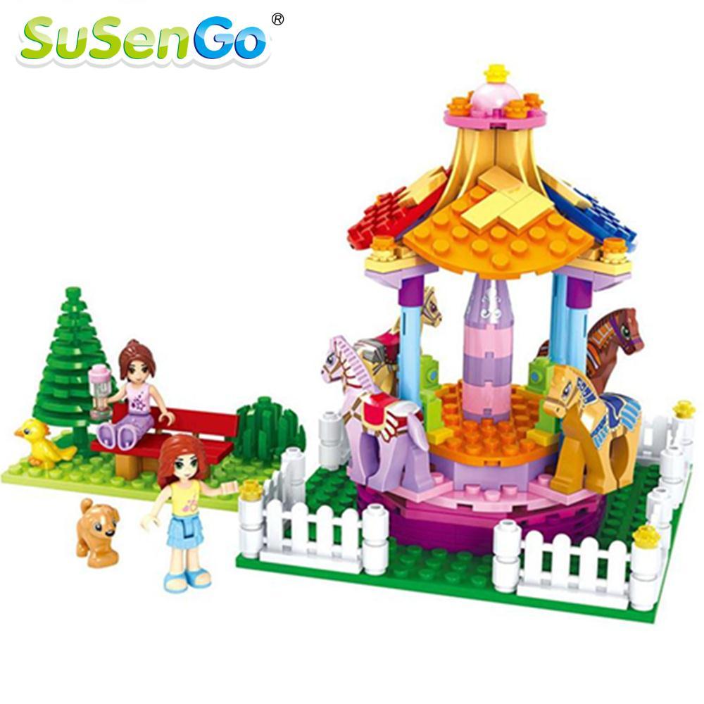 Girl Toys Building Blocks Amusement Park Holiday Carousel Romantic Model Girls Kids Christmas Gift SuSenGo<br><br>Aliexpress