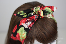 women vintage 50s red forest Genius rockabilly pinup hair accessories bandana bandeau cheveux scarf foulard cheveux femmes mujer