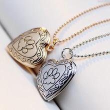 2017 New Christmas Mother's Day Mom Gift Pet Cat Dog Paw Charm Pendant Box Photo Frame Locket Necklace Fashion Heart Jewelry