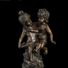 Free shipping 100% handmade cute kids bronze sculpture statues girl and boy figurines art for home decoration CZS-249(China)