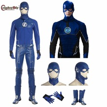 CosplayDiy The Flash Cosplay the Future Flash Blue Flash Costume Adult Men Halloween Carnival Flashman Outfit Custom made(China)