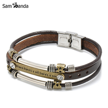 2017 New Fashion Charm Retro Hand Made Silver Plated Bracelet Multi-layer Leather Pulseiras Men Jewelry for Women Bileklik