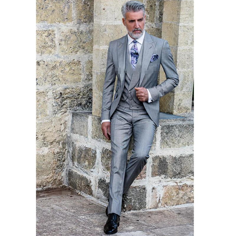 light gray men suit lapel wedding groom suit high quality custom Mature man handsome three-piece suit