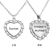 Custom Personalized Photo Silver-Color Pendant Engraved Necklace Love Heart Necklaces Women Party Jewelry 7 Styles for Choice