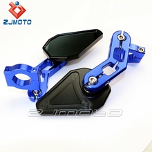 ZJMOTO Custom Universal MINI Driven Racing blue CNC Motorcycle side convex 10mm mirrors small handle Bar end rearview Mirror