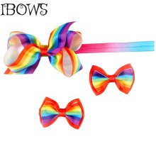 1 Set Rainbow Ribbon Hair Bow With Clip Headband For Girls Boutique Rainbow Hair Accessories For Kids Christmas Gift