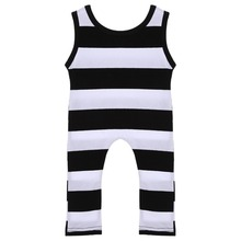 Newborn Infant Baby Boy Girl Cotton Sleeveless Striped Romper Jumpsuit Kids Clothes Outfit Baby Jumpers Infant Clothing