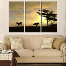 Unframed Canvas Painting Wolf Chased Deer Oil Painting Wall Pictures Grassland Scenery Sunset Art HD Poster Home Decoration 3Pcs