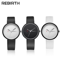 REBIRTH Men Women Watches Lovers Casual Mens Watches Ladies Top Brand Luxury Quartz Leather Strap Clock Sport Male Clocks 003A(China)