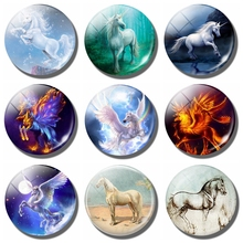 Art Horse Painting Fridge Magnet Glass Dome Cabochon Animal Refrigerator Sticker 1pcs White Horse Message Holder Home Decoration(China)