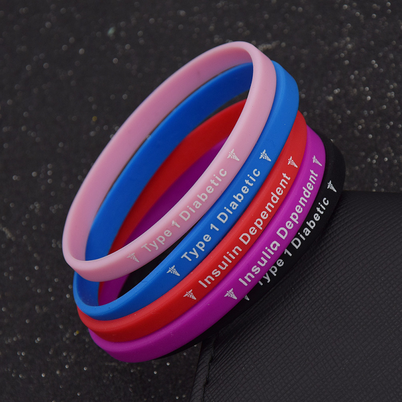 Medical Alert Type 1 Diabetes Insulin Dependent Silicone Wristband 5Colors Rubber Exercise Bracelet Unisex Jewelry Women Men