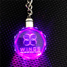 New Arrival BTS WINGS YOU NEVER WALK ALONE KPOP Bangtan Boys LED Crystal Pendant Keychain 17021120(China)
