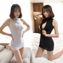 Buy Sexy Two Way Zipper Open Bust Baby Dolls Sleep Dress Ice Silk Cheongsam See High Cut Body suit Club Swear Erotic Dress18