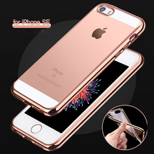 for iPhone SE Ultra Slim Luxury Electroplating Crystal Soft Silicon Clear TPU Case Transparent Back Cover Cheap for iPhone 5S 5G(China)
