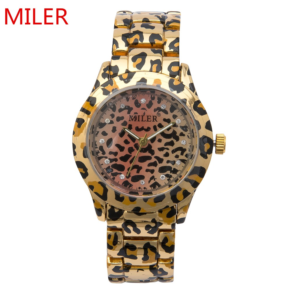 New Fashion MILER Brand Women Watch Stainless Steel Leopard Print Rhinestone Watch Simple Style Quartz Watch relogio feminino<br><br>Aliexpress