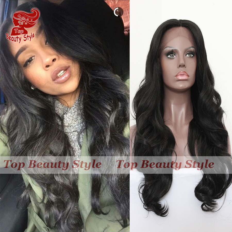 Free Shipping 6A Grade Long Wave Synthetic Hair Wigs Heat Resistant Body Wave Natural Black Synthetic Lace Front Wig In Stock<br><br>Aliexpress