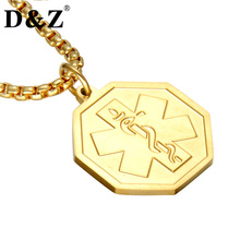 D&Z Gold Color Medical Design & ID Necklace 316L Stainless Steel 60CM Chain Medical Alert Necklace for Christmas Jewelry(China)