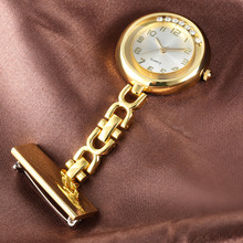 Luxury Crystal Golden Silver Stainless Steel Nurses Pin FOB Watch Clip-on Hanging Brooch Round Pocket Watch Men Women relogio