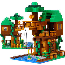 Lepin 18009 Building Blocks scene series 406 pcs Minecrafted tree house brick scene series Steve mini Blocks Toy My world boy(China)