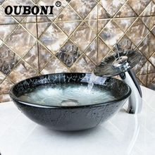 OUBONI Chrome Round Basin Tap+Bathroom Sink Washbasin Tempered Glass Hand-Painted Lavatory Bath Brass Set Faucet,Mixers & Taps(China)