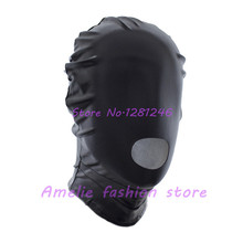 New Open Mouth Sex Mask Patent Leather Fetish Bondage Mask Hood Adult Games Sex Toys for Couples Adult Erotic Products Black Red