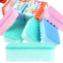 5PCS/LOT Creative Green Kitchen Scouring Pad Multifunction Home Portable Decontamination Wash Cloth Dishwashing Cleaning Sponge
