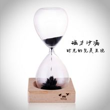 9Pig/Top Quality Magnetic Sand Hourglass Novelty Creative Glass/Sand Like Flower/Beech Magnet Base Home Decor