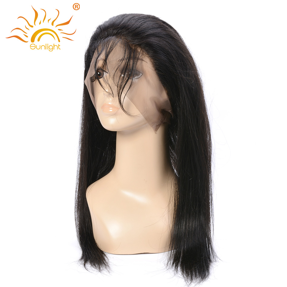 Sunlight Human Hair Peruvian Straight Hair With Closure Remy Hair Preplucked 360 Lace Frontal With Baby Hair More Natural