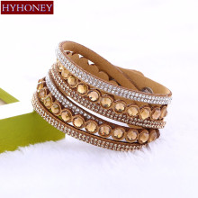 Buy HYHONEY Fashion Multilayer Big Rhinestone Slake Leather Bracelet Crystal Bracelets & Bangles Women Fine Jewelry Gifts for $1.27 in AliExpress store
