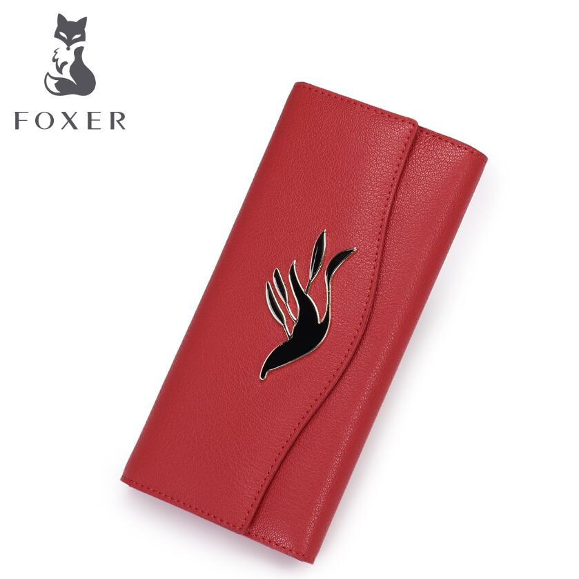 Cowhide women wallets 3 fold wallet FOXER brand women bag 2017 new women long wallet  leather wallets purse  women clutch bag<br>