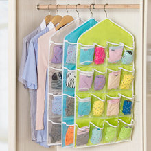 16 Grid Wardrobe Hanging storage bag Underwear Bras Socks Ties Door Wall Hanging Bag Sundry Saving Space Tidy Organizer Pockets(China)