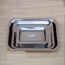 3 Pieces Per Set Thicker Stainless Steel Barbecue Dishes Creative Kitchen Accessories Rectangle Storage Tray Set Free Shipping(China)