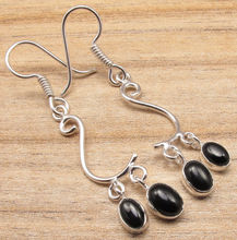 Silver Overlay BLACK ONYX 2 Real Gem Earrings ! Indian Jewelry Supply(China)