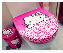 Retail 2 In 1 Set 4 Colors Option Bowknot Hello Kitty Toilet Cover Set,Toilet Lid Cover+Toilet Seat Cover