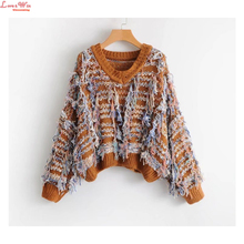 women pullovers colored woolen tassel knitting sweaters V-neck trendy stripes knitted jersey(China)